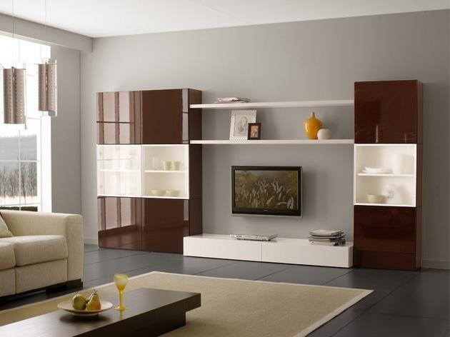 Оцените на фото и примерах как смотрится корпусная модульная гостиная мебель в стиле модерн и классика